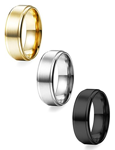 LOYALLOOK 3pcs Mens Womens Stainless Steel Black Wedding Band Ring 8mm Matte Finish Grooved Polished Edge Comfort Fit Size 8