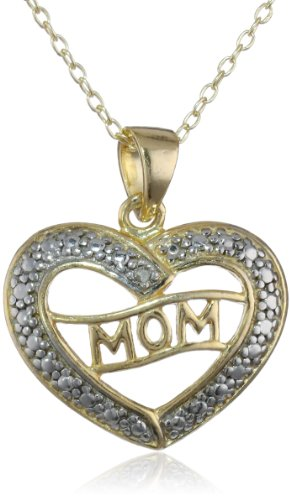 Goldtone Finish Silver Diamond-Accent MOM in a Heart Pendant Necklace, 18""