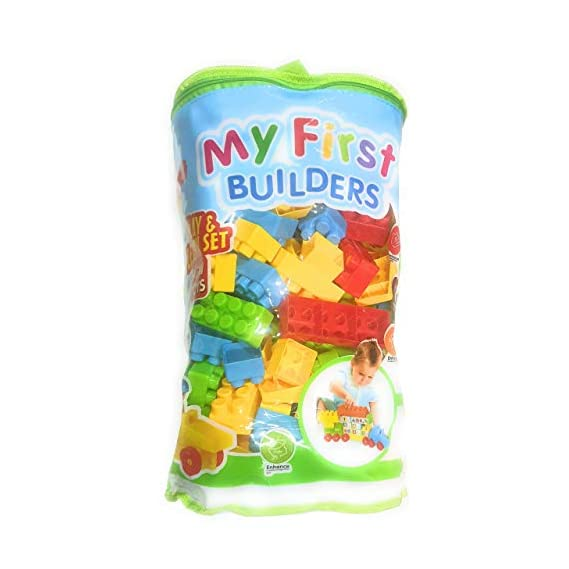 ToyCity Mega Size Blocks Big Building Bag, 130+ Pieces Including Wheels