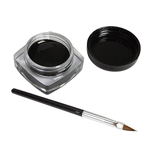 GS 1x Eyeliner Gel Cream Makeup Black Waterproof Eye Liner + Eyeliner Brush