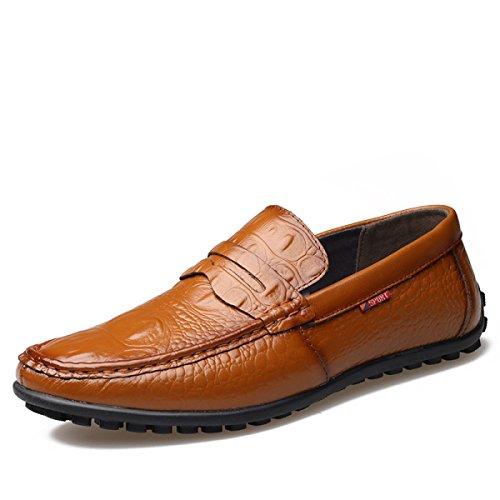 GRRONG Zapatos De Cuero De Los Hombres De Cuero Genuino Libre Negro Marrón Amarillo Yellow