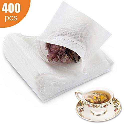 400 bolsas desechables de filtro de te vacias de algodon con cierre de cordon, bolsas de te para hojas sueltas (3.54 x 2.75 pulgadas)