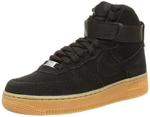 Nike Womens Air Force 1 Hi Suede Trainers 749266 Sneakers Shoes (US 6.5, black black 001) (Nike Air Force One Wedge Sneakers)