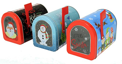 (The Tin Box Company Holiday Tin Mailboxes (Set of 3), Blue and)