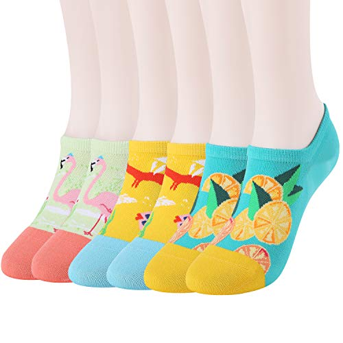 WANDER No Show Socks 7 Pack Cotton Non Slip Low Cut Invisible Loafer Socks Men&Women Boat Liner 6-9/10-12 (E-6 Pairs Animal Socks, Sock Size:6-9)