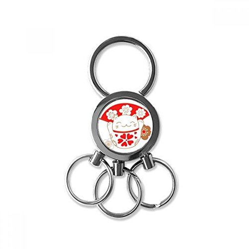 Lucky Seven Car Charm - Cherry Blossoms Fat Lucky Fortune Cat Fan Japan Culture Metal Key Chain Ring Car Keychain Trinket Keyring Novelty Item Best Charm Gift