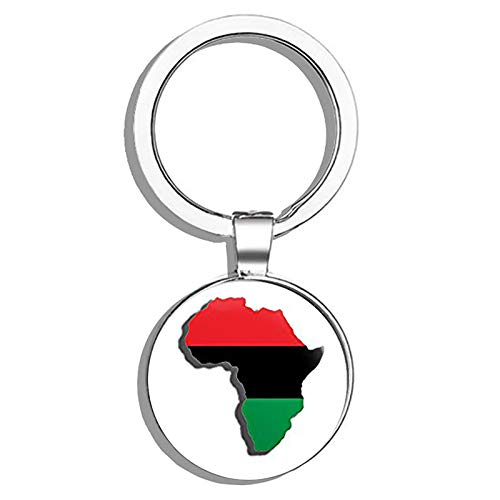 HJ Media Africa Shaped Pan African Flag (American Vinyl is The Legit Item - Buy Bo Metal Round Metal Key Chain Keychain Ring
