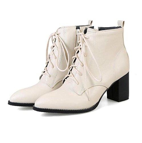 Reißverschluss Stiefel Heel Größe Schuhe Winter Rough Seitlichem Kurze 48 Spitz und BOTXV Lace Vordere Martin Herbst up Damen Stiefel Große 40 High PUt7x1
