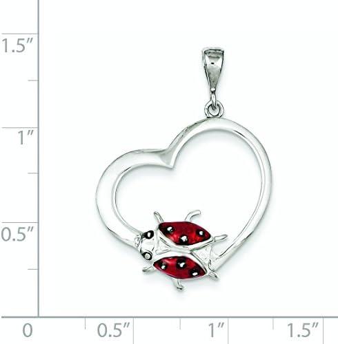 Sterling Silver Enameled Ladybug Heart Pendant