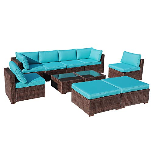 OC Orange-Casual 10 Pcs Outdoor Furniture Sets,Patio Sectional Sofa Couch Conversation Sets Garden Rattan Chair Glass Table with Ottoman Brown Wicker, Turquoise Cushion