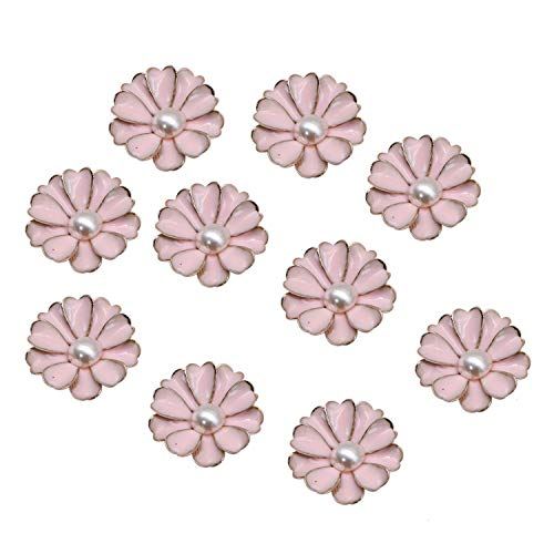 JETEHO 20 Pcs Faux Pearl Flower Buttons Flatback Embellishments for Crafts Scrapbooking Wedding Party Home Decoration ()