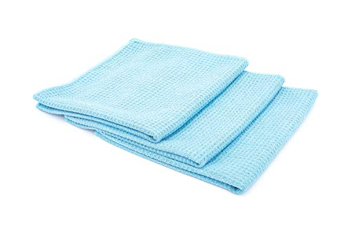 The Rag Company (3-Pack) 16 in. x 16 in. Blue Waffle-Weave 370gsm Microfiber Detailing, Window/Glass and Drying Towels - LINT-Free, Streak-Free