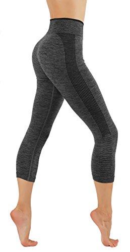 CodeFit Yoga Power Flex Dry-Fit Pants Workout Two Tone Color Leggings S-XL (L/XL USA 6-10, CF/YL604-GRY)