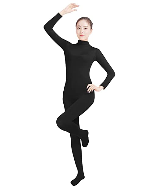 NiSeng Adults and Children Catsuit Bodysuit Yoga Unitard Zip Up Long Sleeves Jumpsuit Costume Fancy Dress Catsuit Party Outfit Dark Gray S
