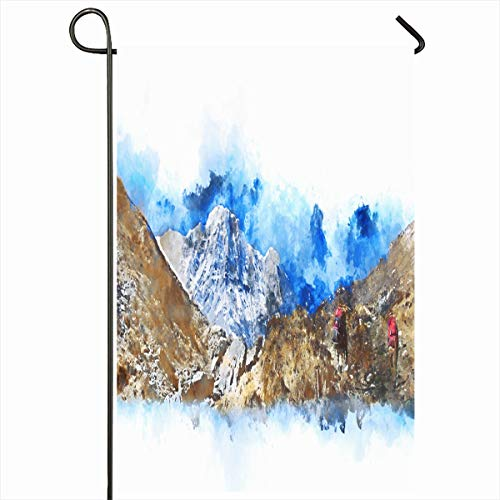 (Ahawoso Garden Flag 12x18 Inches Tourism Adult Hiker Backpack Hiking Mountains Art Digital Abstract Watercolor Adventure Artistic Outdoor Decorative Seasonal Double Sided Home House Yard)