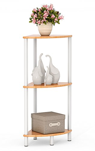 Tribesigns Bamboo Bathroom Corner Shelf, Water Resistant 3 Tier Corner Storage Shelves for Shower, Living Room, Kitchen (3 Tier)