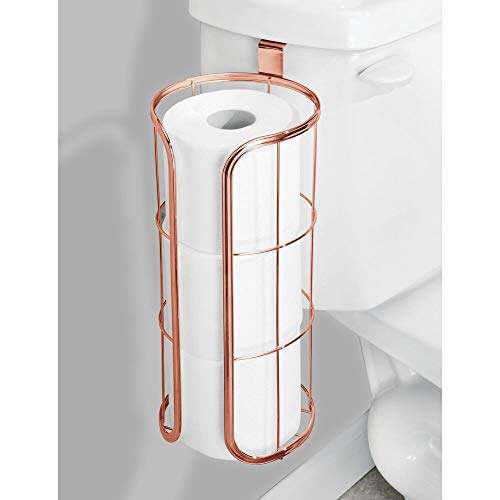 mDesign Modern Over The Tank Hanging Toilet Tissue Paper Roll Holder and Reserve for Bathroom Storage - Stores 3 Extra Rolls, Holds Jumbo-Sized Rolls - Durable Metal Wire - Rose Gold