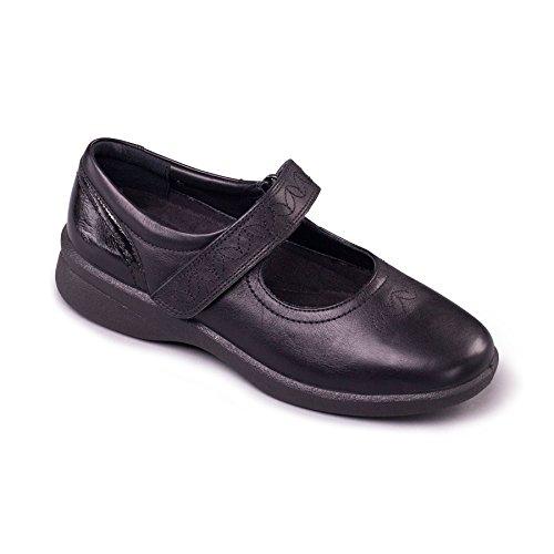 Grande Cuerno Negro Muy Cuero 'sprite Hondo Zapatos Zapato Talón De Combi 35mm Aee Ancho eeee Señoras 2' Libre Y Anchura Padders zHaxEvwqa