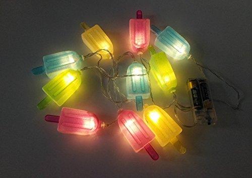URToys Novetly Colorful Ice Cream Popsicle 10 LED Bulbs 1.6M String Light Set Battery Opetated BBQ Patio Party Indoor Christmas Wedding Decoration Creative Gift Warm White (Hongyi Costume)