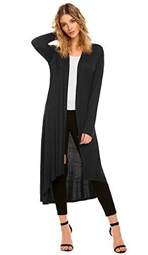 Dusters for Women Open Front Long Cardigan (M, Black)