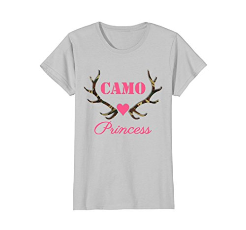 Camo Heart T-shirt - Womens Camo Princess Antlers Camouflage Pink Heart Love T-Shirt Small Silver