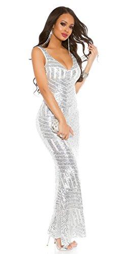 mit silber schönes Super und Rückenausschnitt Pailletten tiefem Abendkleid 0ExxdfT