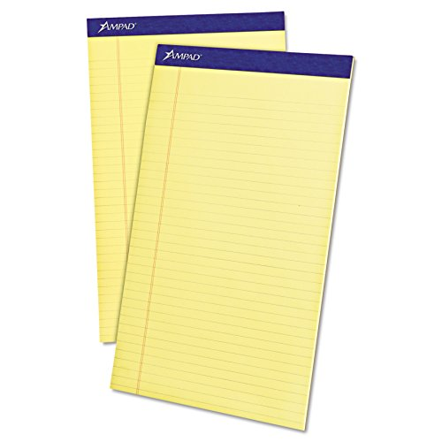 Ampad TOP20230 20-230 Evidence Perf 8-1/2x14 Pads, Wide Rule, Red Margin, Canary, 50 Sheets, Dozen