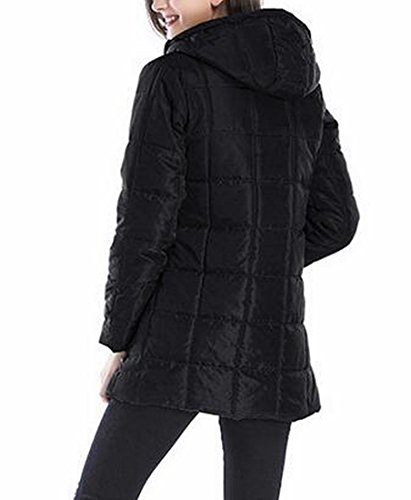 Mid Length today Winter Hooded Quilted Long Womens Sleeve Black Jacket UK qwXHrXxU
