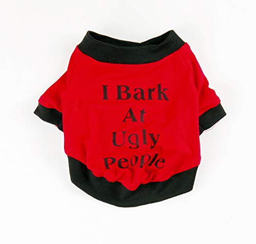 Pet Shirt,Cute Dog Clothing Summer Cool Funny Vest for Dog Cat Sweatshirt I Bark at Ugly People (XS, Red)