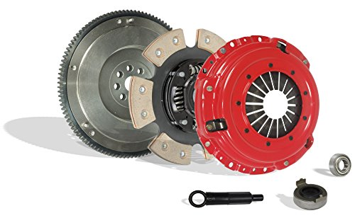 (Clutch With Fywheel Kit Works With Honda Civic Si Del Sol Cr-V Gs Lx Type R Gs-R VTEC Special 1994-2001 1.6L L4 1.8L l4 GAS DOHC Naturally Aspirated (Flywheel Spec: .112+; 6-Puck Disc Stage 3))