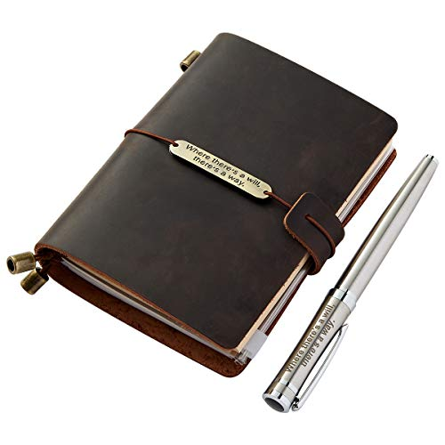 Refillable Travel Journal With Pen, Handmade Genuine Leather Traveler's Diary Notebook with Pen for Men Women Travelers Writers, Small 5.3 x 4 Inches