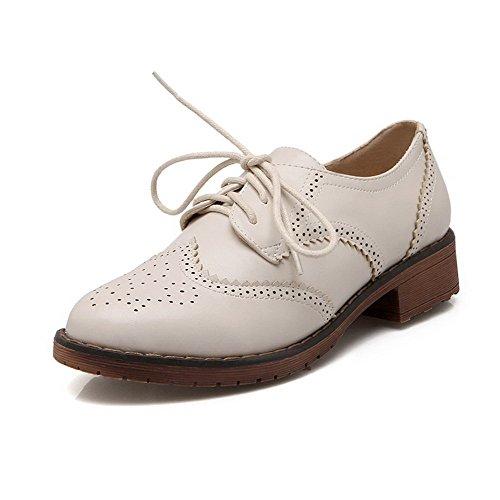 VogueZone009 Damen Weiches Material Schnüren Rund Zehe Niedriger AbsatzPumps Schuhe Cremefarben