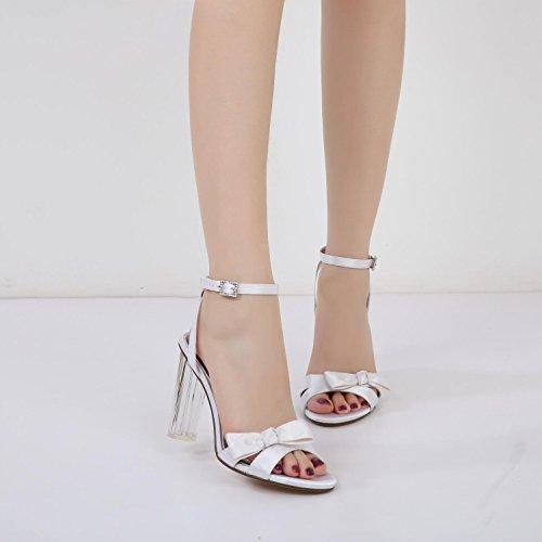 Toe Boda Party sandalias Black Novia Gruesa Peep 1 De Zapatos yc prom L Con Crystal Mujeres Plataforma Las F2615 qt6RB