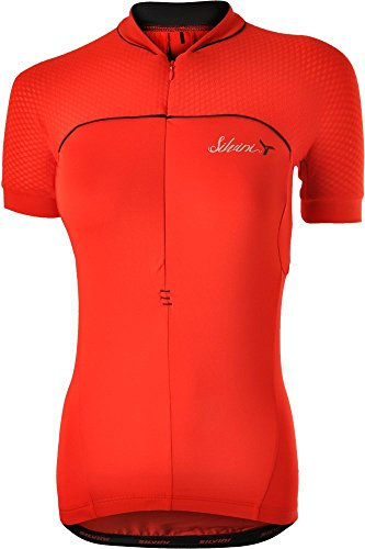 SILVINI Women's Mountain Bike Jersey Catirina in Red with Short Sleeves for Cycling and Mountain Bike - Size L ()
