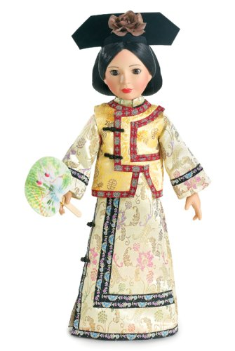 Qing Dynasty Costume (Qing Dynasty Outfit with Fan for 18 inch Slim Carpatina or AGFAT dolls)