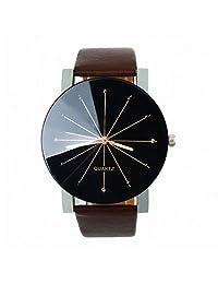 Changeshopping Luxury Men Quartz Dial Clock Leather Round Case Wrist Watch (brown)