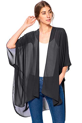(Modern Kiwi Solid Sheer Chiffon Kimono Cardigan Black One Size)