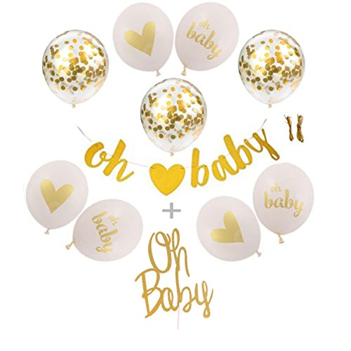 Baby Shower Decorations – Neutral Gender Reveal Party Banner & Balloons – OH Baby Banner & Cake Topper + 9PC Gold & White Balloons with Confetti - Unisex Pregnancy Announcement Party -