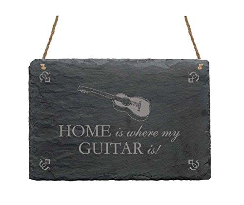 Schiefertafel Schild « HOME IS WHERE MY GUITAR IS » mit Gitarre MOTIV Dekoschild Geschenk Dekoration Musik