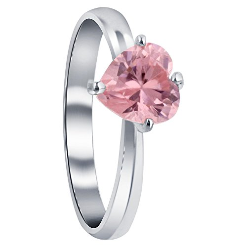Heart Ice Pink - 925 Sterling Silver Solitaire Cubic Zirconia Heart Ring Size 8 Prong Set Pink ice CZ