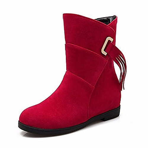 ZHUDJ Damenschuhe Leder Frühling Herbst Komfort Snow Boots Runder Mid-Calf Stiefel Quaste (S) Für Casual Rot Beige Schwarz Red