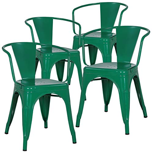 - Poly and Bark Trattoria Arm Chair in Dark Green (Set of 4)
