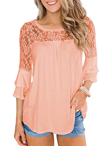 MIHOLL Women's Casual Lace Tops Ruffle Sleeve Loose Blouse Shirts (Coral, Large)