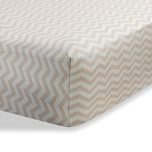 "Cradle Sheets Fitted 18"" X 36"" – Cradle Sheets for Boys and Girls - Abstract cradle sheets for Baby - Infant Deep Fitted Soft Jersey 100% Cotton Knit Cradle Sheets (Zigzag Beige)"