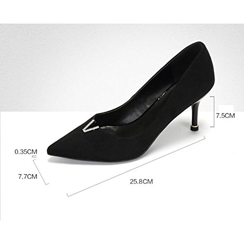 Faisant Nightclub 38 Femme Party 5 La Sexy Black Talons Haut EU UK 5cm Court Chaussures 5 Navette Work Lady Mode 7 WeddingDaphne Noir qq6z4wS