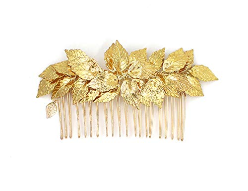(OUMOU Greek/Roman Goddess Gold Leaf Crown Headpiece - Bridal Wedding Headband with Pearl Tiare (Leaf Comb)