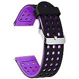 Moretek 20mm Samrt Watch Bands for Samsung Galaxy Watch 42mm, Samsung Gear S2 Classic, Gear Sport, Withings (Nokia) Steel HR 40mm, Fossil Q Gazer,Ticwatch 2 Silicone Strap (BlackPurple, 20mm)