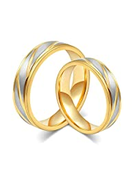 Daesar 2 Pieces Wedding Rings with Engraved Stainless Steel 2 X Rings Gold Plated Rings for Women Men Ring 4MM/6MM