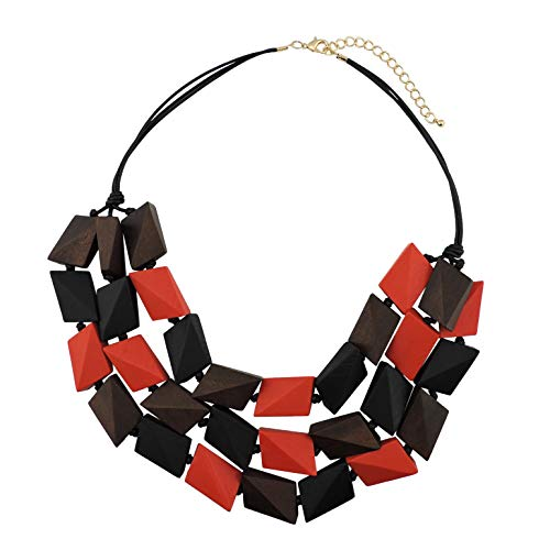 Necklace Beaded Strand 3 - COIRIS 3 Layers Big Faceted Wood Beaded Strand Statement Necklace for Women Chunky Collar (N0018) (Black + red + Dark Brown)