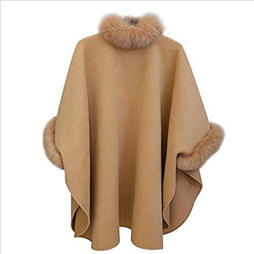Khaki Invierno Huixin Alta Ponchos Manga Abrigos Colores Elegante Abrigados Calidad De Cuello Outcoat Larga Grueso Fleece Más Sólidos Suelto Coat Alto Mujer Pelo Capas De wtASwRqrBW